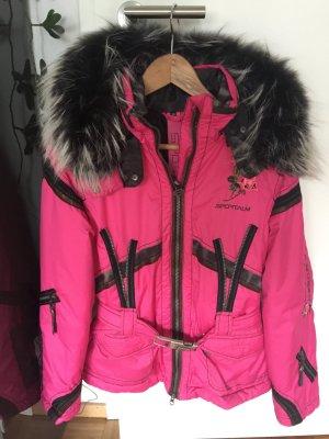 Skianzug Sportalm pink/schwarz/khaki Echtfell 36