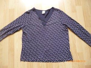Camiseta estampada azul oscuro-blanco puro