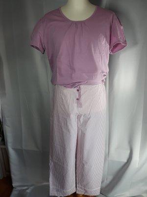 skin to skin Pyjama,Lange Hose mit Satinbändchen,Kurzarmshirt,rosa-weiß,Gr 40/42