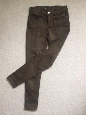 Massimo Dutti Drainpipe Trousers khaki-olive green
