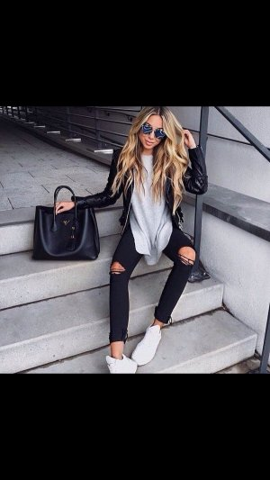 Skinny Fit Ripped-Jeans Black