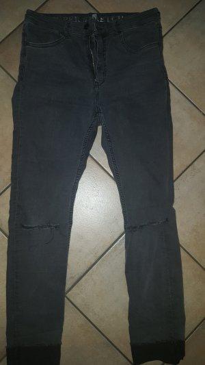 H&M Divided Jeans a vita alta nero-grigio