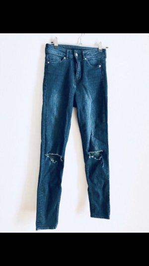 H&M Vaquero de talle alto azul oscuro
