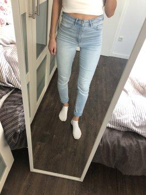 H&M Divided High Waist Trousers light blue-blue