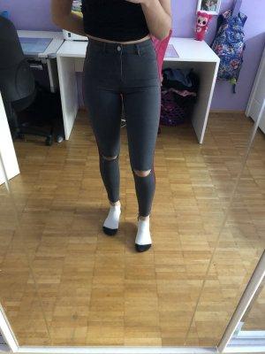 Zara Trafaluc Jeans a vita alta grigio-rosso scuro