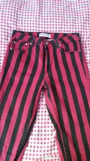 Pull & Bear Vaquero skinny negro-rojo oscuro