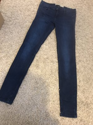 Zara Trafaluc Drainpipe Trousers blue cotton