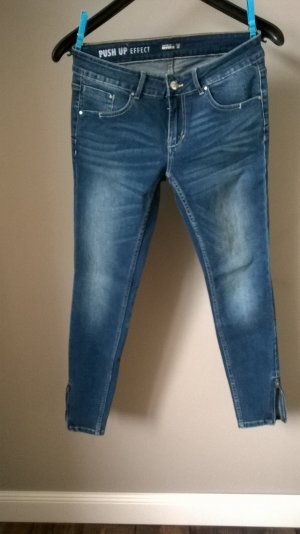 Tube jeans donkerblauw Katoen