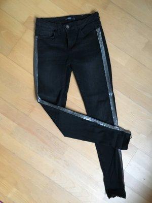 Skinny Jeans grau mit silberfarbenem Streifen 34