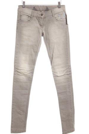 Skinny Jeans hellgrau-hellbeige Rockabilly-Look