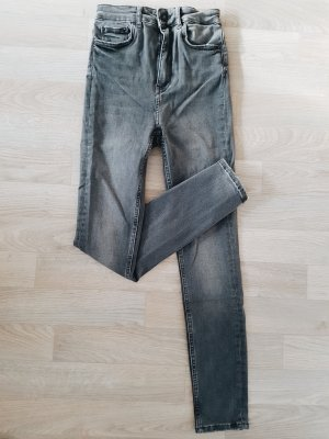 Skinny Jeans high waist dunkelgrau