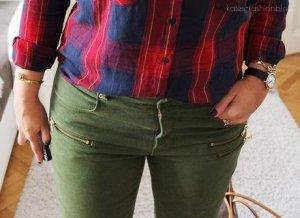 Skinny Jeans Hose Wachs olive khaki grün