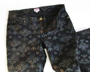 Skinny Jeans Laura T Größe S 36 Schwarz Anthrazit Ornamente Royal Stretch Bedruckt Muster Hose Denim
