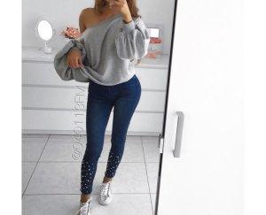 Zara Jeans taille haute bleu acier