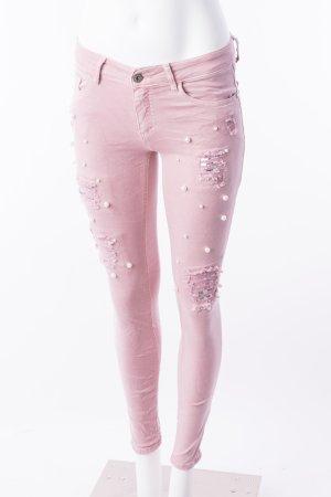 Skinny Jeans mit Perlenbesatz Rosa Gr. S