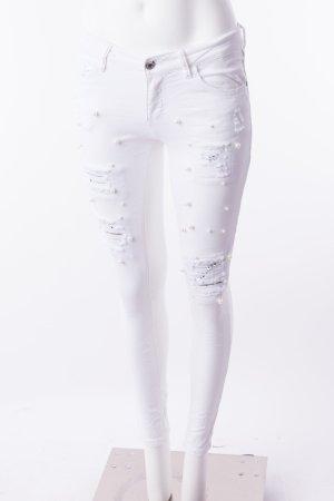 Skinny Jeans mit Perlenbesatz und Pailletten Weiß Gr. S