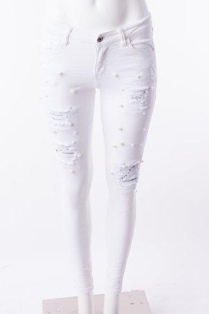Skinny Jeans mit Perlenbesatz Weiß Gr. XS