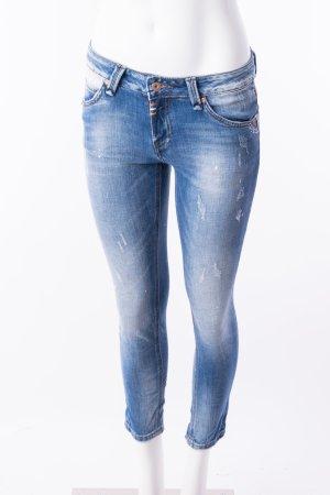 Skinny Jeans mit Stickereien und Farbsprenkeln Gr. XS