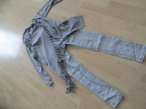 Skinny Jeans Reptilprint Schlange grau Gr. 36 S neu