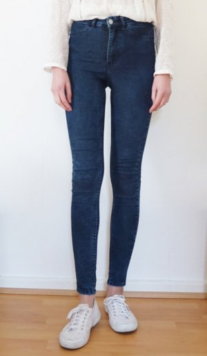Skinny Jeans Röhrenjeans h&m blau acid washed Gr 34 high waist