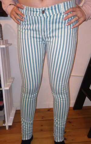 skinny Jeans türkis weiß gestreift