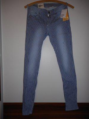 Skinny Jeans von H&M, low waist, blau/weiß gestreift, Größe 27