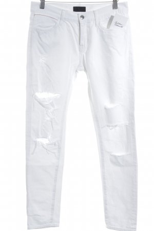 Skinny Jeans weiß-dunkelrot Destroy-Optik