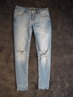 Skinny Jeans Zara Destroyed Distressed Blau
