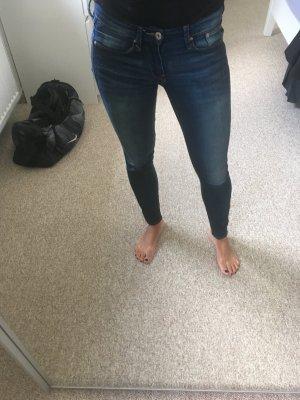 Skinny Low Waist Ankle 25/30 H&M dunkelblau mit Reißverschlüssen