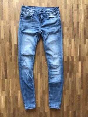 Zara Pantalon taille basse bleu