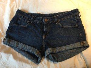 H&M Pantalón corto de tela vaquera azul-azul oscuro