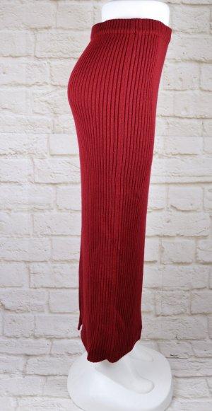 Miss H. Gonna lavorata a maglia carminio-rosso scuro Tessuto misto