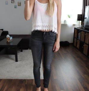 Skinny Röhren Jeans Gr. 36 grau schwarz