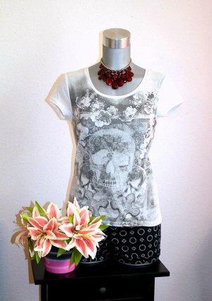 Skull Flower Shirt Gr. 36/38 Print Strass Weiß Grau