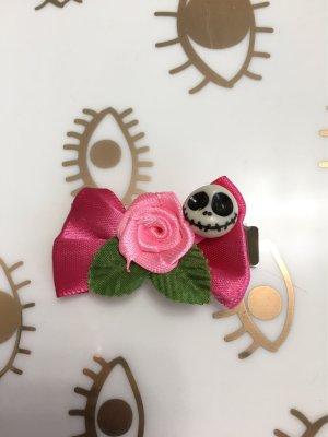 Skull Haarklammer Rockabilly-Look pink Schleife