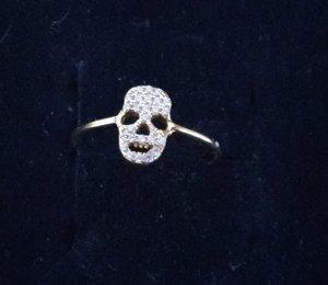 Skull Totenkopf Ring Silber vergoldet