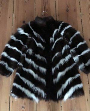 Skunk Luxus Pelzjacke Kate Moss Boho Style Mantel Fur Fell Felljacke Pelz Jacke A-Linie Streifen 38 40 Pelzmantel Fellmantel
