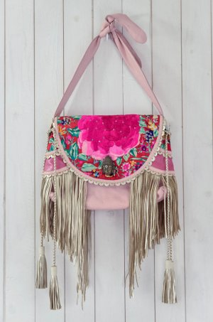 SKUNKFUNK Damen Tasche Umhängetasche Leder Bestickt Rosa Pink Bunt Trottel Neu!