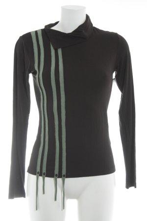 Skunkfunk Longsleeve schwarz-hellgrün Streifenmuster sportlicher Stil