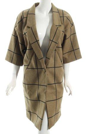Skunkfunk Oversized Mantel khaki-schwarz Karomuster Street-Fashion-Look