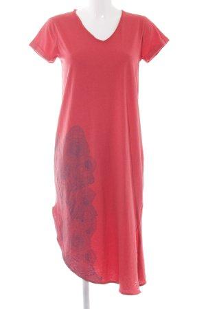 Skunkfunk Shirtkleid rot-dunkelblau abstraktes Muster Casual-Look