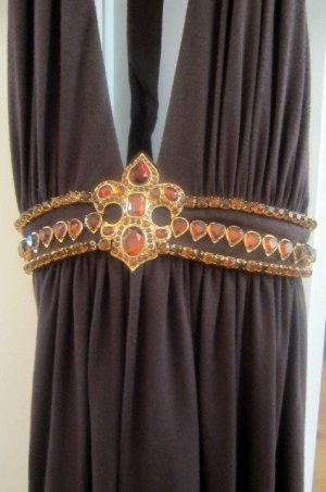 Halter Top brown red-orange silk