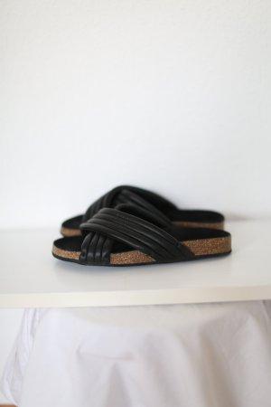 Slides Sandalen von Selected Leder schwarz Gr. 38 Blogger