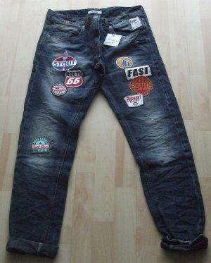 Slim Fit Jeans von Berna mit Aufnähern Patches - Gr. 40