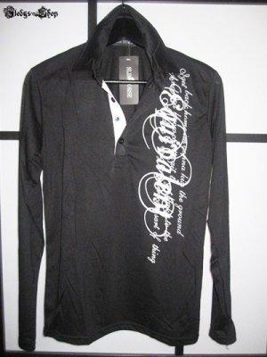 Slim Horse Langarm Herren Polo Shirt schwarz mit Tattoo Aufdruck