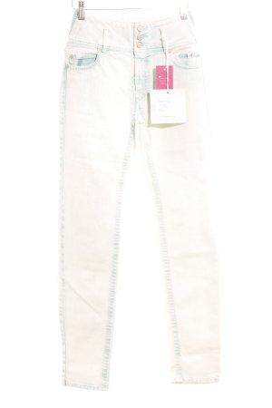 Slim Jeans creme-türkis extravaganter Stil