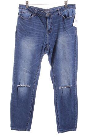 Slim Jeans dunkelblau Destroy-Optik
