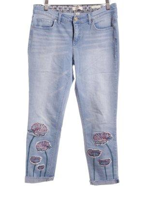 Jeans slim fit azzurro motivo floreale stile casual