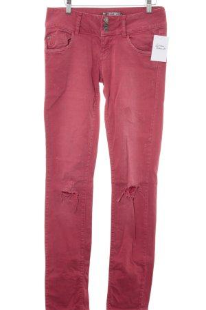 Slim Jeans hellrot Used-Optik