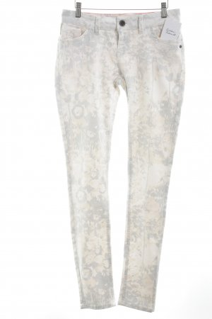 Slim Jeans wollweiß-apricot florales Muster Casual-Look